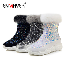 ENMAYER Round Toe Sequined Cloth Flat with Winter Boots Women Polka Dot Short Plush Bling Ankle for Med Silver Shoes