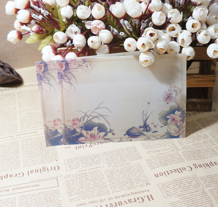 Sui Yue Fang Translucent Hazy Chinese-style Retro Sulfuric Acid Paper Envelope Of Qing Lotus Light Fragrance