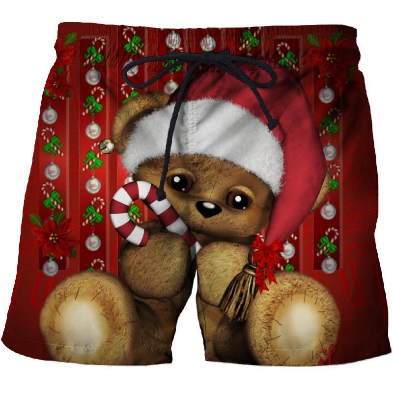 Christmas Cartoon Bear Fun Shorts Men's Beach Pants 3D Printing Sports Quick-drying Swim Trunks Comfortable Fitness Shorts