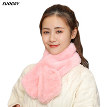 SUOGRY 2019 Women Winter Warm Plush Scarf Rabbit Fur Angora Scarves Thicken ladies Fake Collar Scarf boys girls children