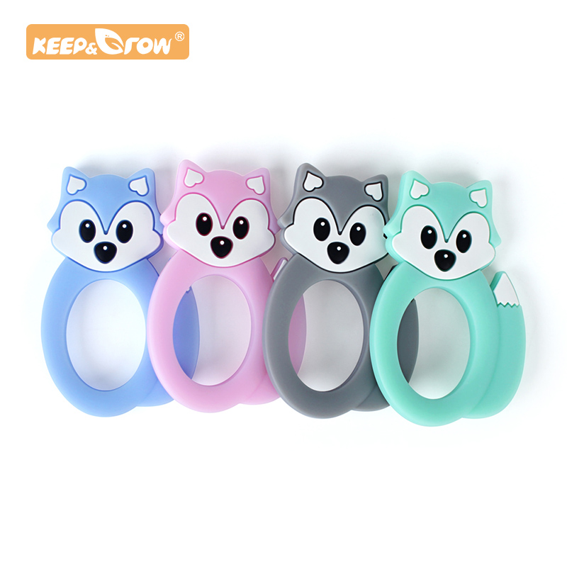 Keep&Grow 1pc Fox Baby Teether Cartoon Silicone Rodent Beads Pendant Necklace Accessories Infant Chew Toys DIY