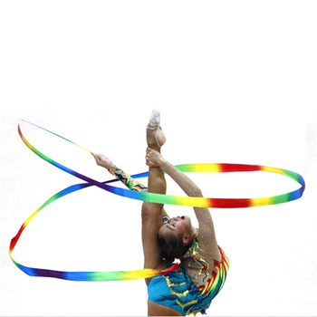 4M Colorful Gym Ribbons Dance Ribbon Rhythmic Art Gymnastic Ballet Streamer Twirling Rod Stick Professional Training Ribbon image
