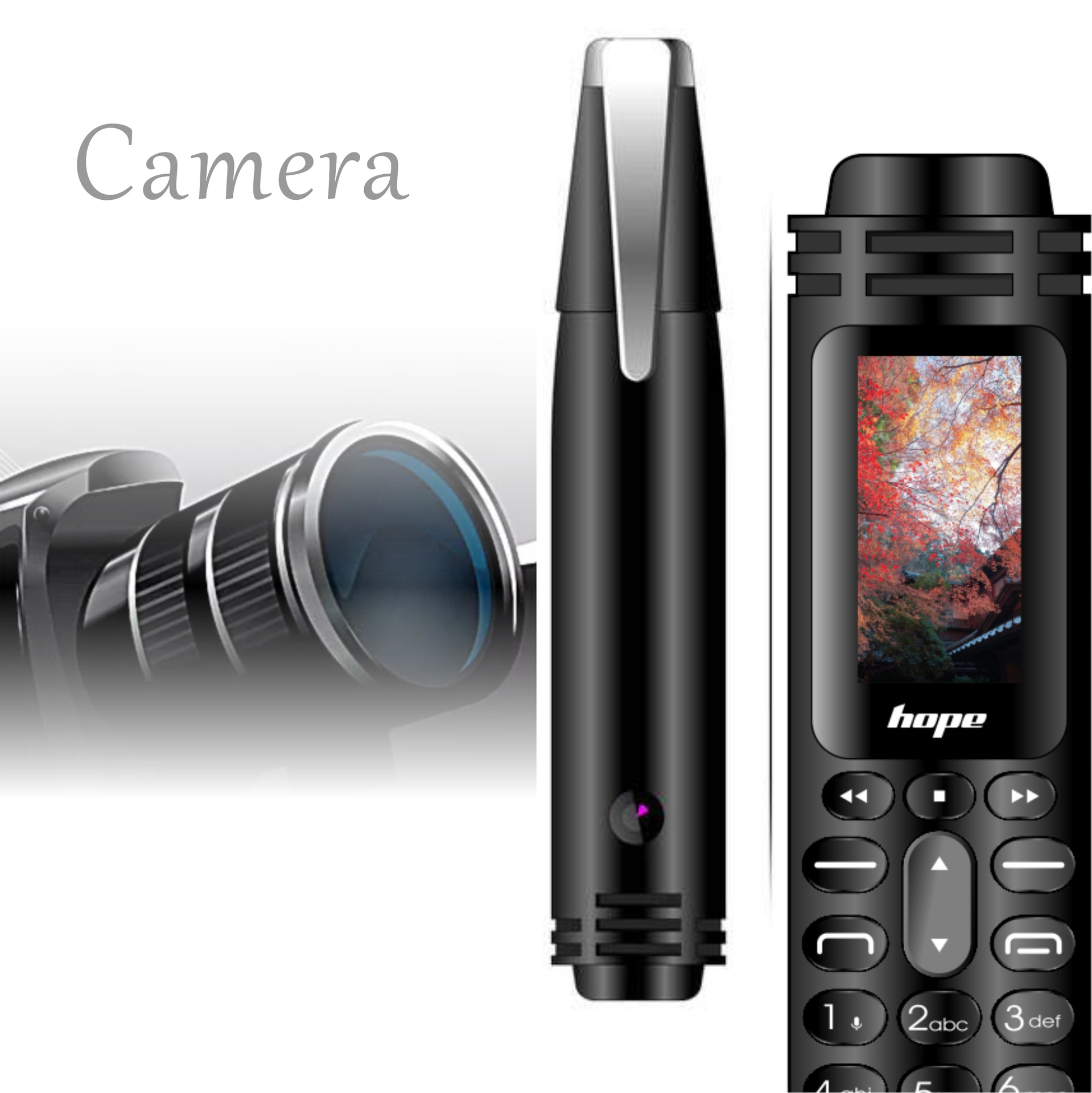 CHAOAI AK007 Mini Pen Mobile Phone Dual Sims Dual Standby GSM Bluetooth 2G Unlocked Small Cellphone Camera Flashlight Recording