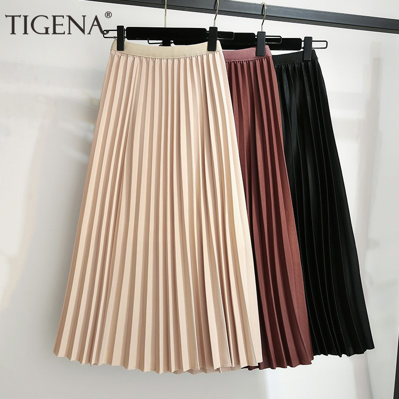 TIGENA Midi Long Skirt Women Fashion 2019 Autumn Winter Korean A-line High Waist Pleated Skirt Female Ladies