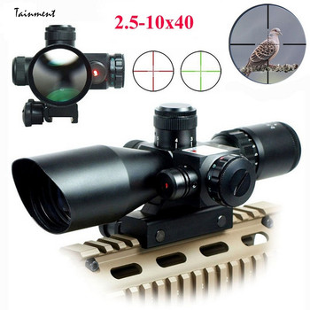2.5-10X40 Tactical Rifle Scope Infrared Laser Sight Cross Scope Optical Lens Hunting Optics Scope Sight with Red Laser Scope