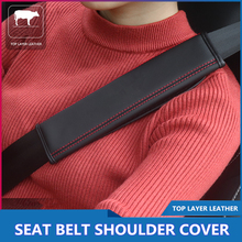 цена на Car Accessories Leather Shoulder Pads Cushion Harness 2pcs / pair car seat belt cover with car padding Interior safety belt