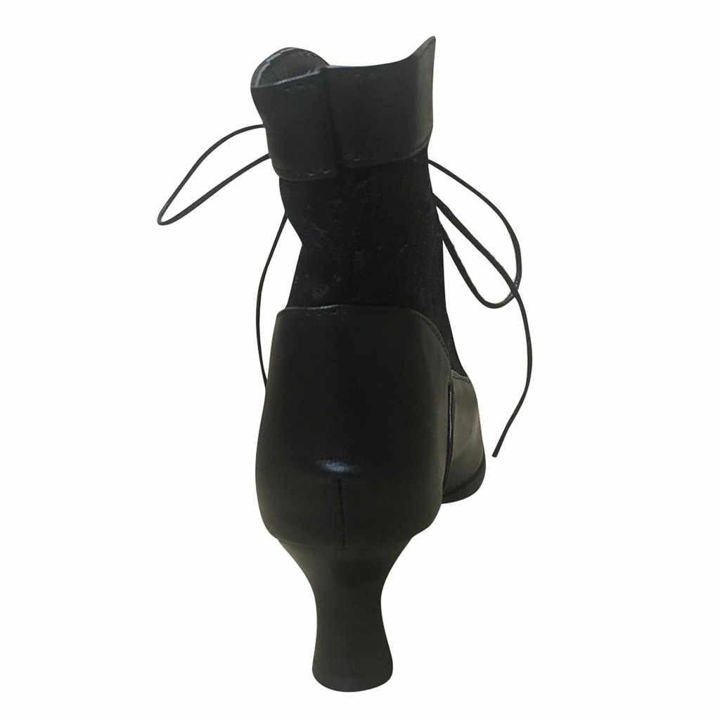 แฟชั่นผู้หญิงรองเท้าบู๊ทข้อเท้าฤดูใบไม้ร่วง Solid FLOCK LACE-Up VINTAGE สั้นรองเท้าชี้ Toe ฤดูหนาวรองเท้า PLUS ขนาดผู้หญิง #913