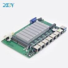 XCY мини материнская плата 6 LAN Mini ITX 1000 Мбит/с Ethernet Celeron 1037U 1,80 ГГц промышленная ITX материнская плата для pfsense брандмауэра