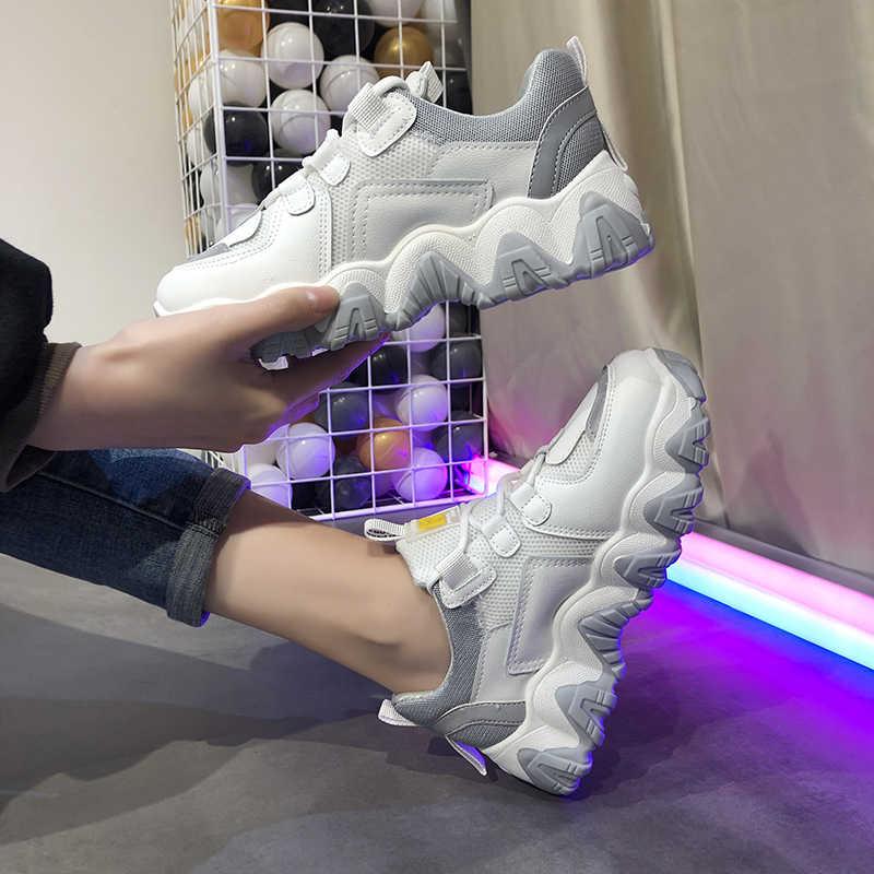 ¡Novedad de 2019! zapatillas gruesas a la moda con suela gruesa para mujer, zapatillas gruesas informales con plataforma vulcanizada para mujer