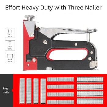 3 In 1 Manual Heavy-Duty Nail Shooting Gun, U-Type T-Type Grabbing, Free 600 Pcs