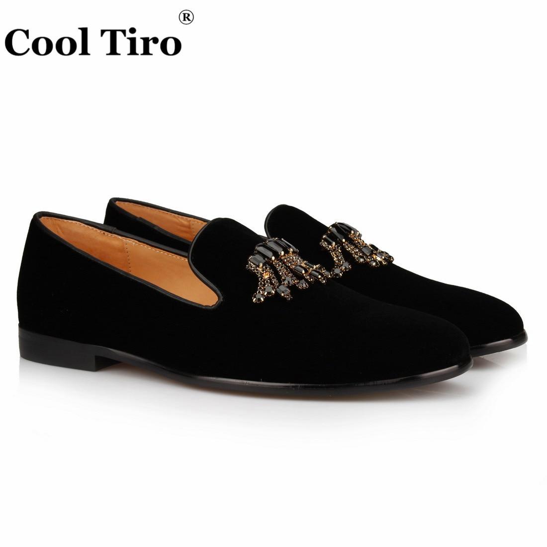 Стильные черные бархатные Лоферы TIRO с драгоценными камнями; Мужские модельные туфли; Роскошные лоферы с кристаллами; деловая мужская обувь