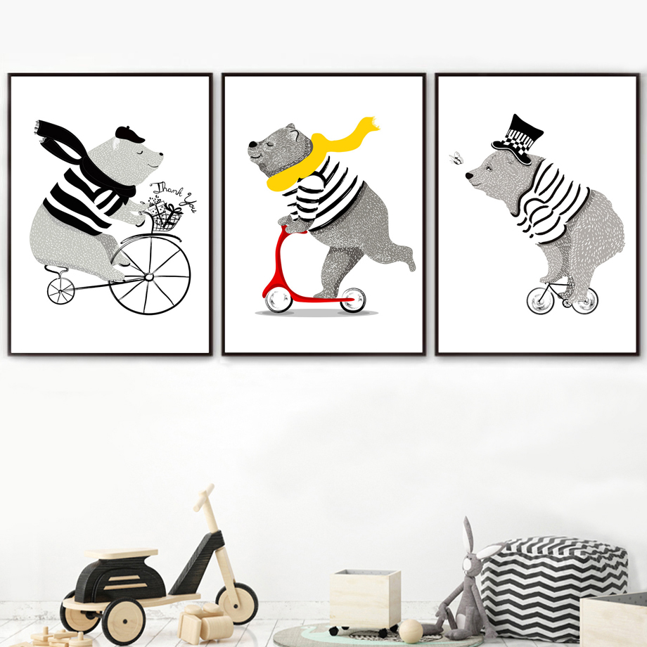 Cartoon Bear Bicycle Nordic Posters And Prints Wall Art Canvas Painting Nursery Art Prints Wall Pictures Baby Kids Room Decor