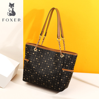 FOXER Ladies Business Bags Large Capacity PVC Leather Women Handle Embossing Totes Female Retro Brand Summer Travel Purse
