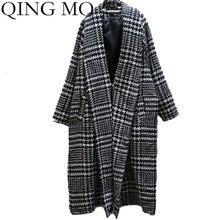 QING MO Winter Women Plaid Coat 2019 Women Woolen Trench Coat Plus Size Loose Coat Single Breasted Wide Waisted Outwear ZQY2100(China)
