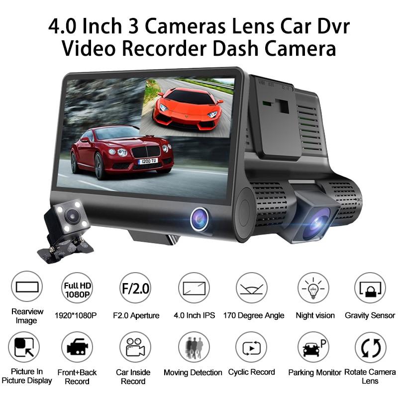 Dash Cam 4 0 Inch 3 Camera 3 Way Lens Car DVR Video Recorder HD Dual Lens DVR With Rear View Camera Car Auto Registrator Dvrs in DVR Dash Camera from Automobiles Motorcycles