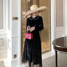 Vintage Midi Dress Women Autumn 50s Bow Collar Elegant Velvet Casual S