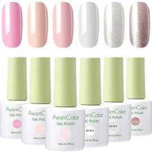Nail-Polish Snow-White Glitters Awsmcolor-Gel Brown Soak-Off 6-Colors Nude Grey Gold