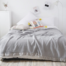 Japan Waffle Plaid Cotton Blanket Thin Towel Quilt Air Condition Comforter Duvet Bedspread for Double King