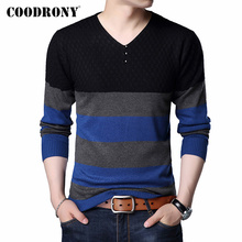 COODRONY Brand Sweater Men Casual Striped Button V