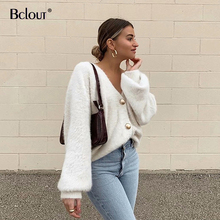 Bclout Autumn Fashion V Neck Knitted Cardigan Women Casual Solid Color Sweater Loose Long Sleeve Button Up Top Female Sexy