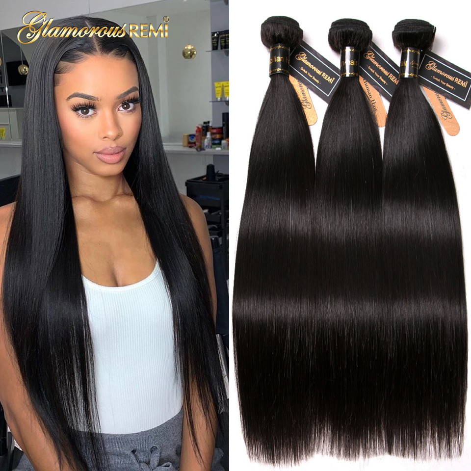 Brazilian Straight Human Hair Bundles 3 Bundles Deal Hair Weaving 8-26 Inch Natural Color Extensions Middle Ratio Double Weft