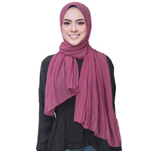 New Pleated Women Dress Wrinkle bubble chiffon Hijab scarf shawls crinkle muslim Turban wraps pleat long wrap scarves