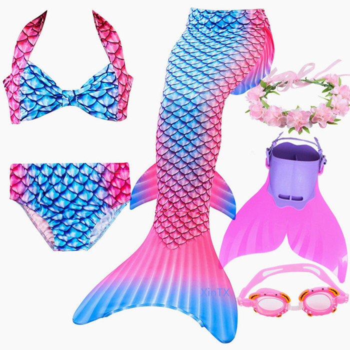 5Pcs/set Kids Fancy Swimming Mermaid Tail With Monofin Costume Cosplay Bikini Mermaid Tails Cosplay Costume For Girl Swimming