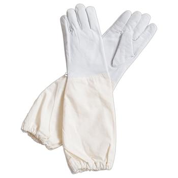 Goatskin Leather Beekeeper's Glove with Long Canvas Sleeve & Elastic Cuff Keystone Thumb and Dexterity 1
