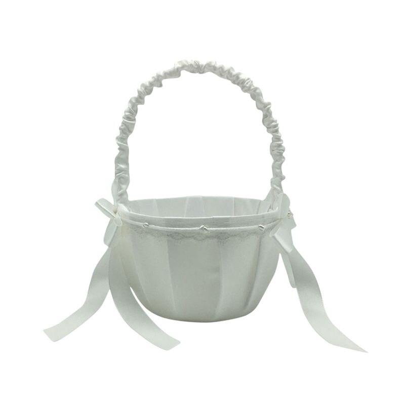 Свадебные цветочные корзины для девочек, ручки для винтажной цветочной корзины для свадебной церемонии, вечерние корзины QM8047 [ - Цвет: C