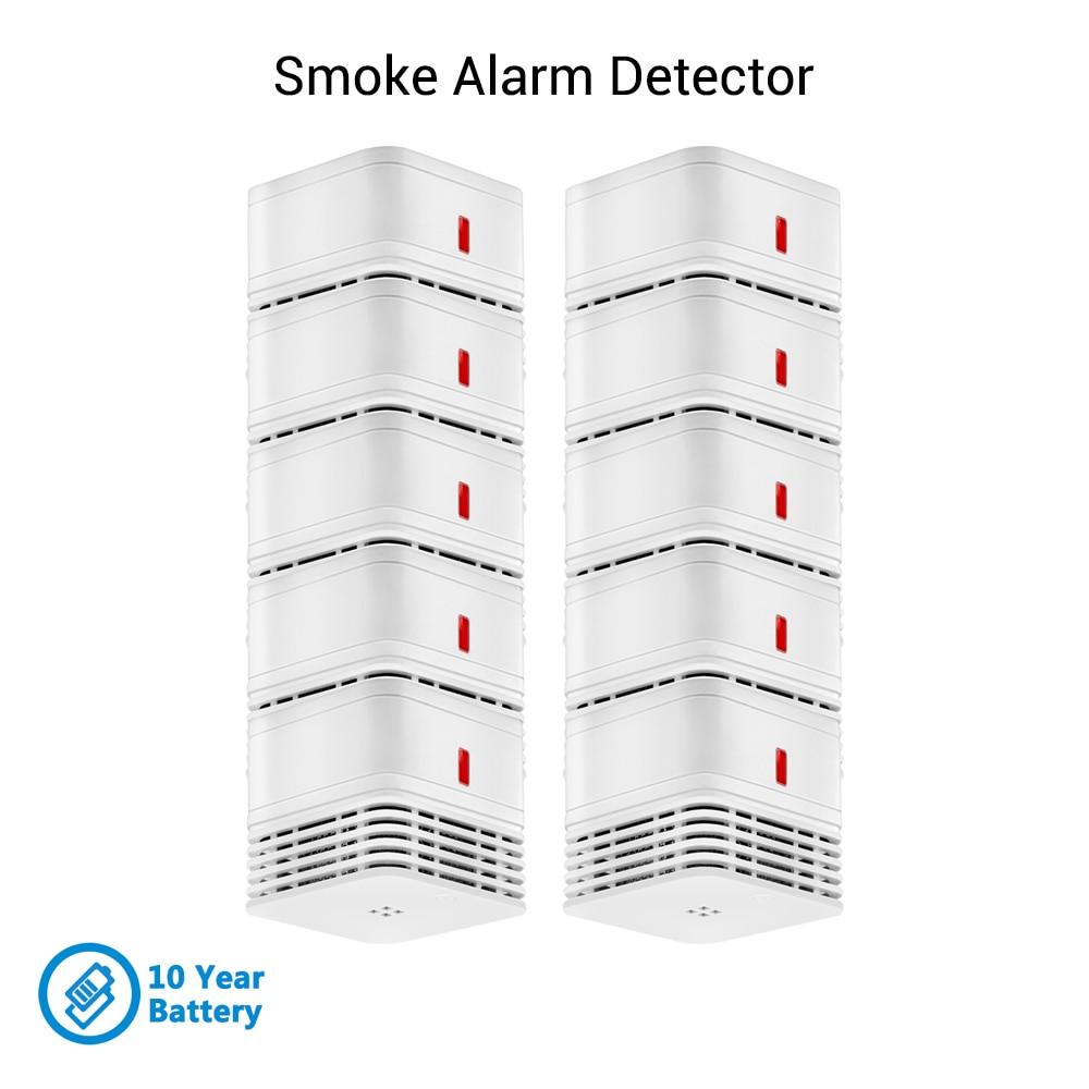 CPVan 10pcs/lot 10 Year Battery Sensor Detector EN14604 CE Certified Smoke Detector Fire Detector 85dB Photoelectric Sensor