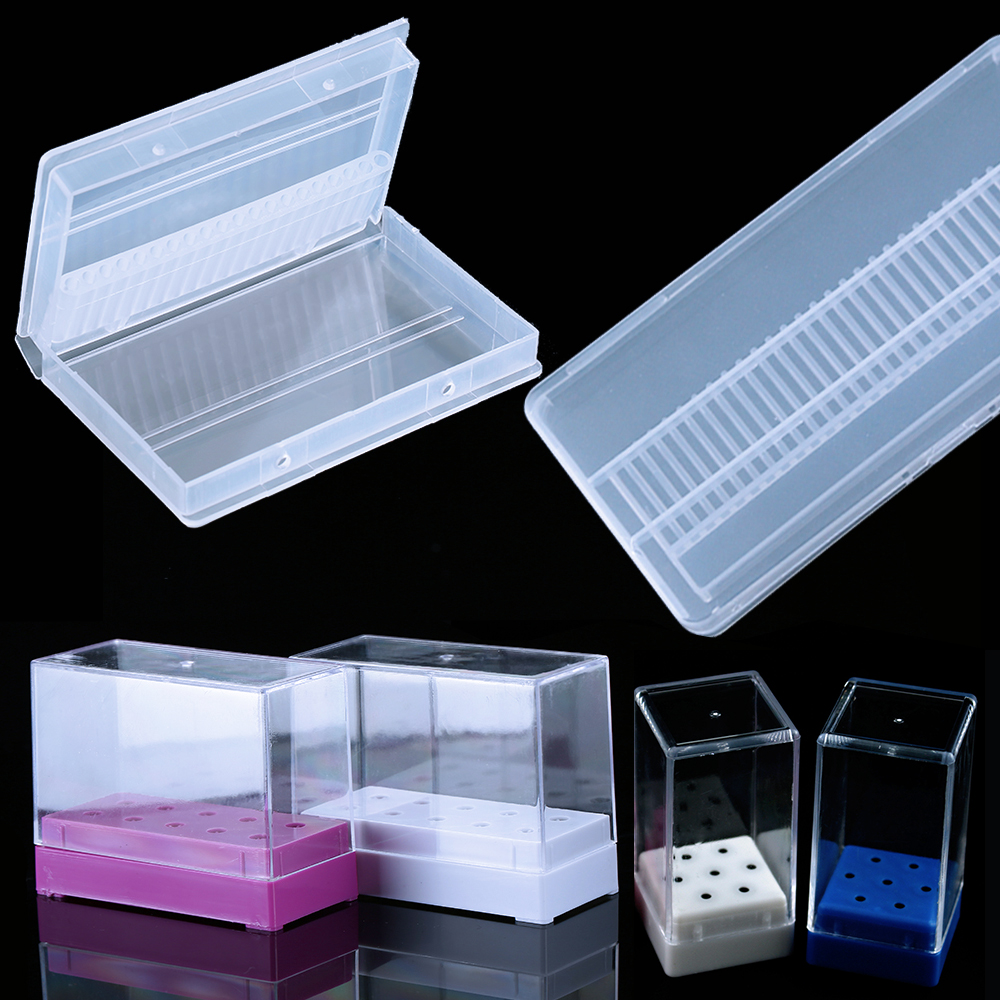 10/20/30 Slots Clear Storage Box For Electric Nail Drill Bit Rotary Files Holder Display Nail Accessorie Tools
