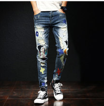 Korean Fashion Men Jeans Elastic Destroyed Baggy Pants Stretch Ripped Embroidery Patches Designer Hip Hop Homme