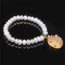 Natural Pearl Shell Charm Bracelet & Bangle Seashell handmade Women Jewelry Beads White Bracelets Female
