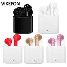 HOT VIKEFON i7 i7s TWS มินิบลูทูธไร้สายหูฟังชนิดใส่ในหูชุดหูฟังสเตอริโอหูฟังสเตอริโอพร้อมกล่องชาร์จ Mic สำหรับสมาร์ทโฟนโทรศัพท์