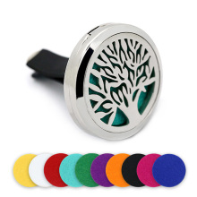 BOFEE Tree of Life Car Essential Oil Aromatherapy Locket Diffuser Fragrance Magnetic Stainless Steel Perfume Vent Clip Gift 30MM