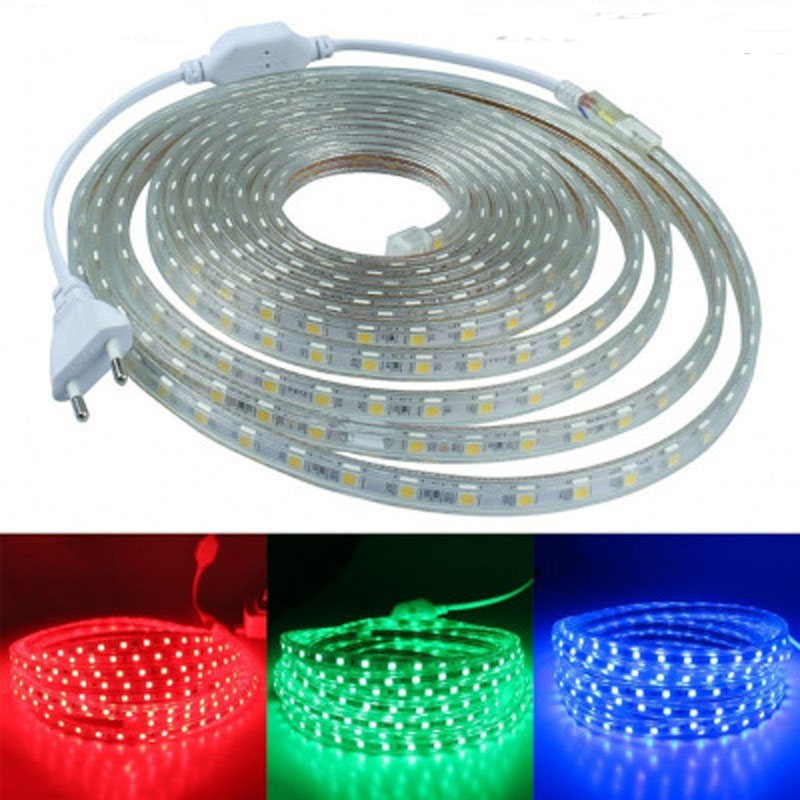 Waterproof SMD 5050 Led Tape AC100-240V Flexible Led Strip 60 Leds/Meter Outdoor Garden Lighting With EU US Plug