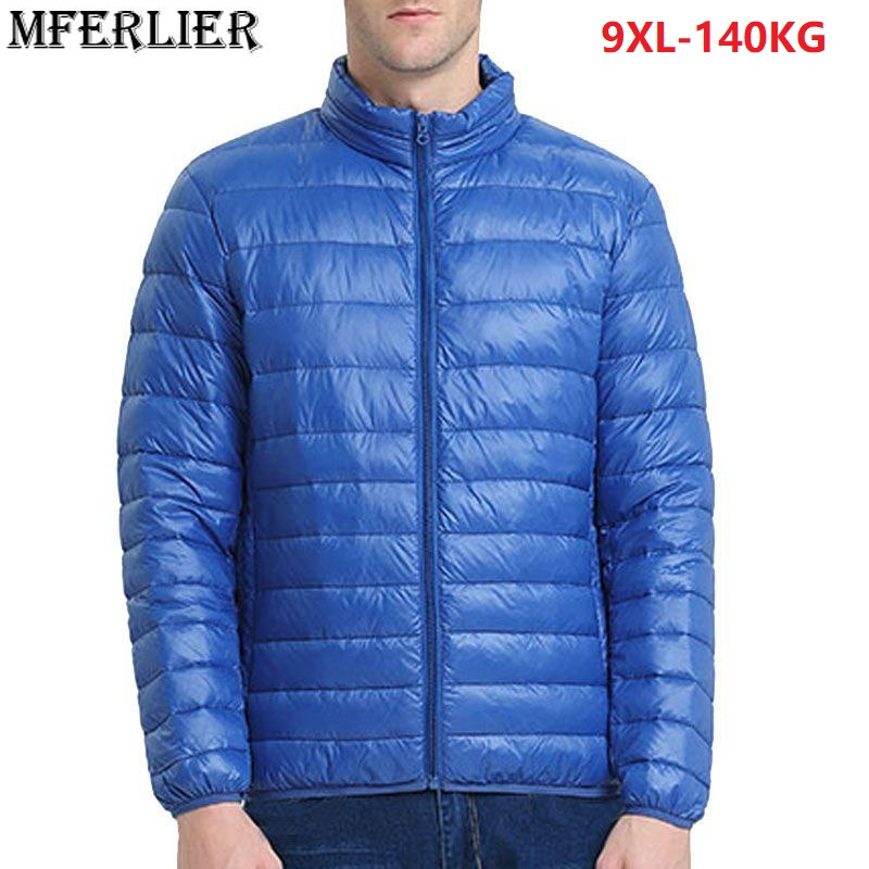 2019 Autumn Winter <font><b>6XL</b></font> <font><b>7XL</b></font> 8XL <font><b>9XL</b></font> Parkas Men Large Size oversize Navy Blue light thin down duck Jackets Man cheap Parkas red 56 image