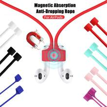 Corde magnétique Anti-perte pour écouteurs sans fil, cordon de suspension pour Air Pods 1 2, lanière en Silicone pour écouteurs