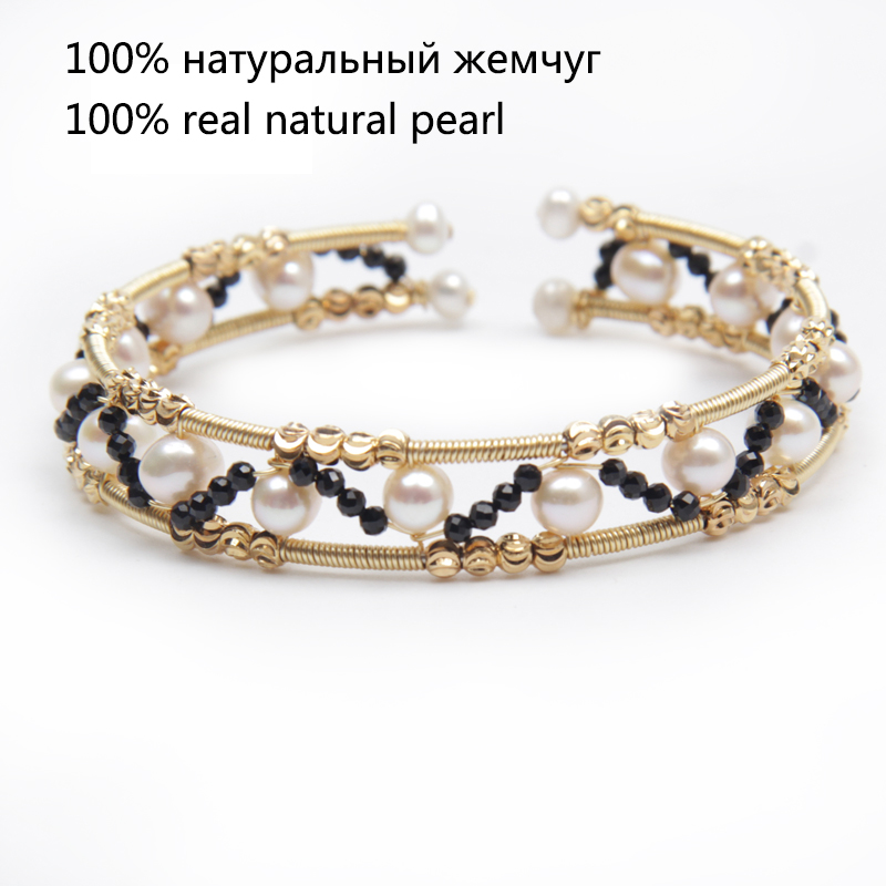 Designer handcraft spinel beaded bangle women 6mm round genuine pearl fresh water natural white bracelet stretch