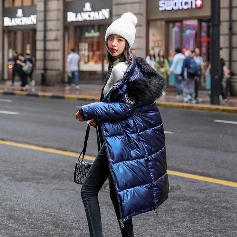 Women Long Detachable Fur Collar Glossy Hooded Oversize Winter Down Coat Student Thick Warm Jacket Cotton Padded Wadded Parkas