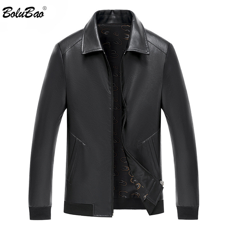 BOLUBAO Brand Men's Motorcycle Leather Jacket Fashion Winter Fleece Leather Jackets Slim Fit Male Warm PU Leather Jackets
