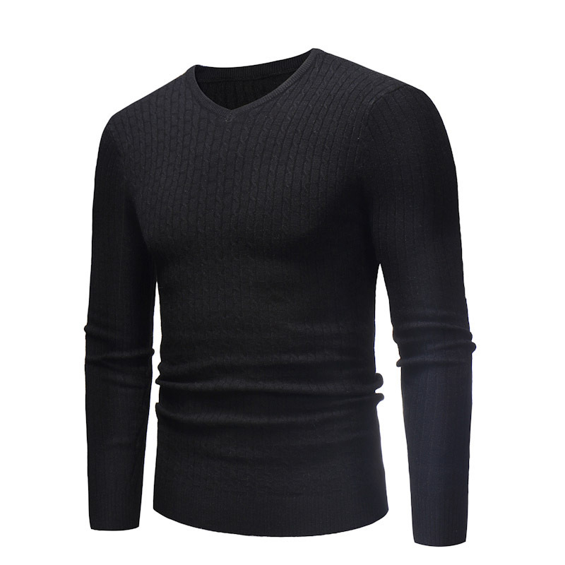 Winter Pullover Long Sleeve Sweater Casual Knitted Jumper Men's Knit Lapel Slim Knitted Sweaters V-Neck Knitwear