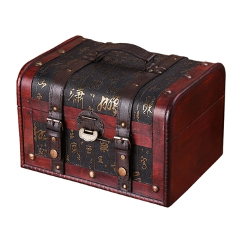 Wooden PU Leather Handle Design Vintage Jewelry Box