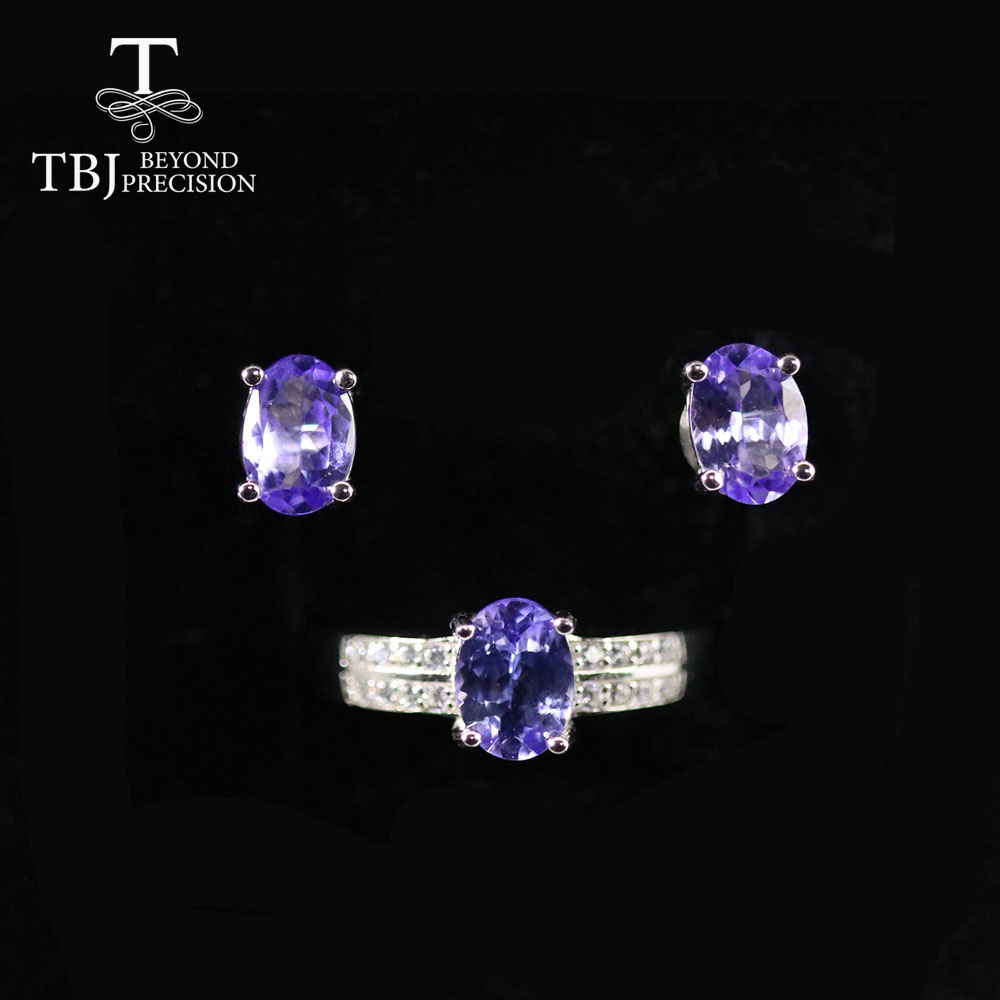TBJ ,Natural Tanzanite jewelry set oval cut 5*7mm 3 pieces earring ring 925 sterling silver fine jewelry simple design for women