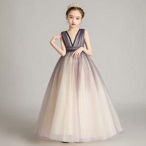 2020 модное роскошное детское вечернее платье без рукавов для девочек, праздничное Сетчатое платье принцессы, детское платье для выпускного ...