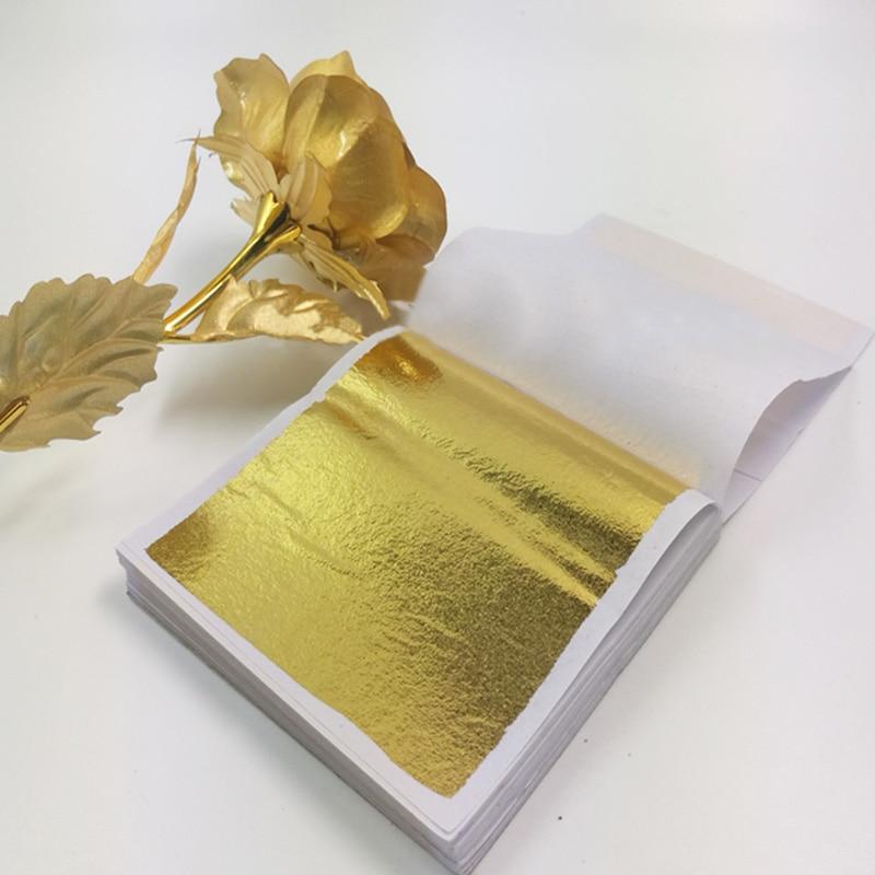 100pcs 8*8.5cm Gold Silver Foil Paper Leaves Sheets Gilding DIY Art Crafts Decor Design Cake Decoration Cookie Wrapping Supplies