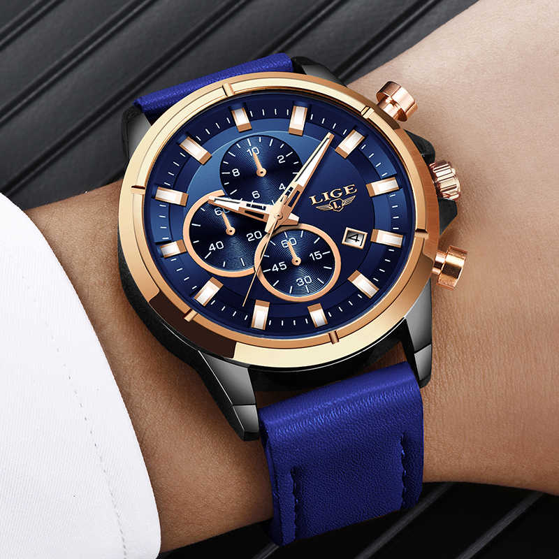 2020 moda mavi deri saat LIGE erkek saatler Top marka lüks kuvars altın izle su geçirmez Chronograph Reloj Hombre