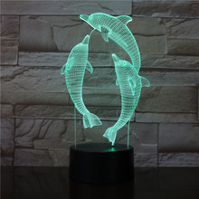 цена Dolphin Lamp 3D Illusion Led Night Light 7 Colors Table Novelty Decor lights with Touch Button for Friends Kids Gift 3578 онлайн в 2017 году