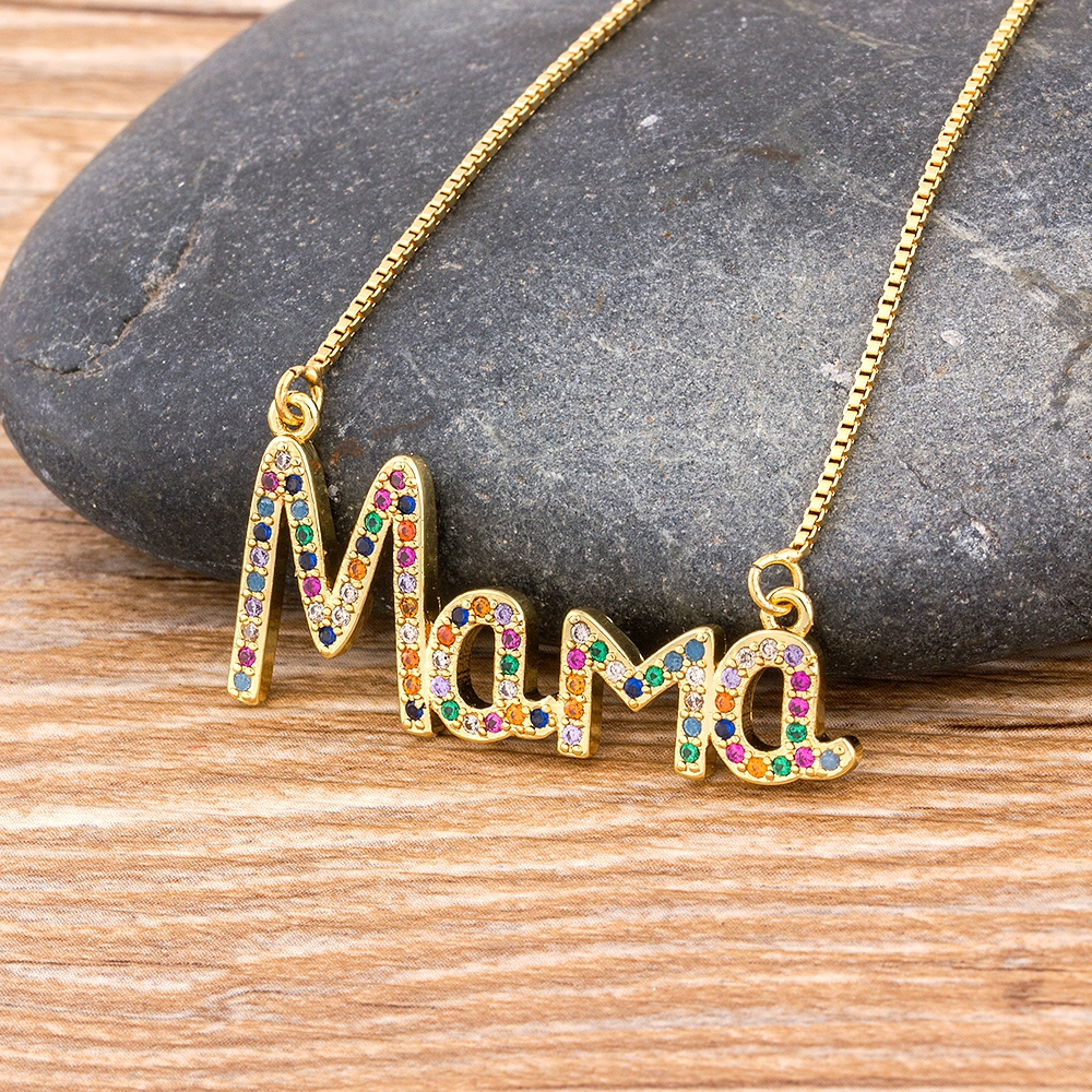 Elegant Mother's Day Gift MaMa Letter Name Pendant Chain Necklaces  Copper Cubic Zirconia Necklace Jewelry Gift for Women
