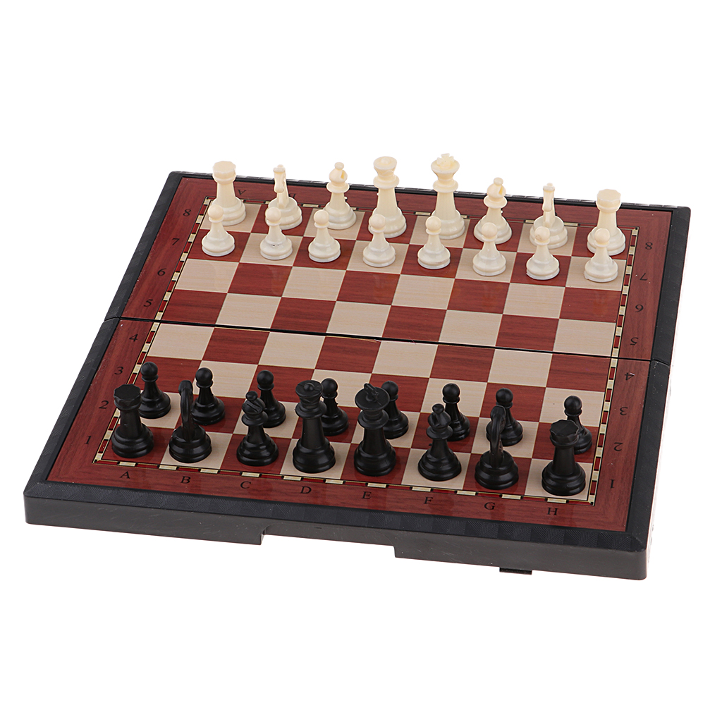 Handmade International Chess Set Game Board - Folding Magnetic Chess Game, Great Travel Chess Set, 2 Sizes Available